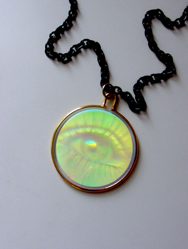 illuminati eye hologram necklace optical by mythunderstood