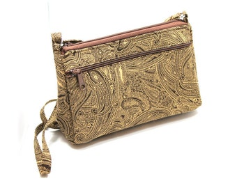 Sassy Cross Body Hipster with Adjustable Strap Brown and Tan Paisley
