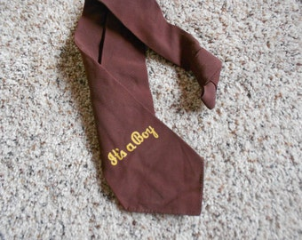 VINTAGE MENS NECKTIE, It's a boy, chocolate brown, usa made, Seneca Cravats, Rochester N Y