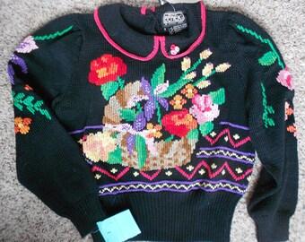 VINTAGE HANDKNIT SWEATER, romantic floral, 1980 s Nordstrom, cotton, original tags, unworn, gorgeous