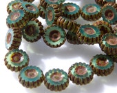 Czech Turquoise Opal with Picasso 12mm Round Flat Daisy Flower Glass Beads (15) 0081-P