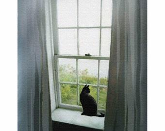 black cat art,  black cat print, black cat painting,  cat art , cat painting, cat print, window cat, pet,