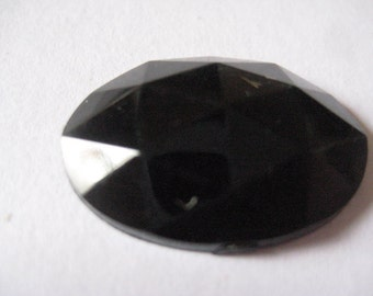 Lot of 4 25x18mm Vintage Faceted Jet Acrylic Flat Back Cabochons Jewelry Making Embroidery