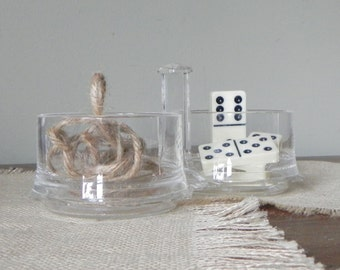 Vintage clear acrylic storage box dish bowl organizer for desk or studio - two little bowls on a tray
