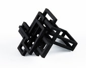 Black 3D Printed Open Square Ring