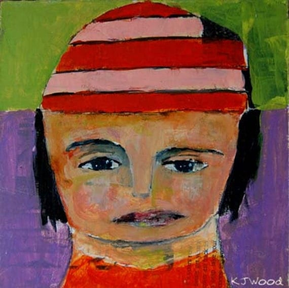 Acrylic Portrait Painting Orange and Pink Winter Hat,  Lime Green, Purple, Girl, Face, Black Hair, 6x6 canvas panel