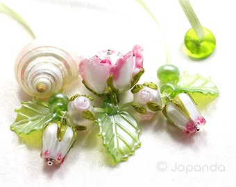 Lampwork by JOPANDA  Roses Pink & White Romantic Necklace