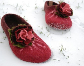 Felted slippers cherry burgundy wine with flower made of wool HANDMADE TO ORDER custom colors