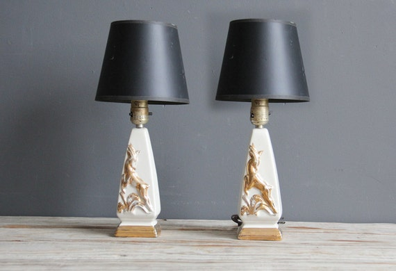Pair of Gold Gazelle Regency Table Lamps