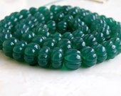 Green Onyx Gemstone Round Carved Melon Ball Emerald Green 8.5 to 10.5mm 1/2 Strand 30 beads