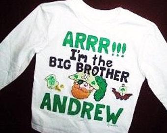 Personalized Irish Pirate Big Brother Shirt, Pirate Sibling Shirt, Irish Big Brother Shirt, Sibling Shirt