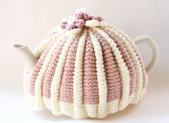 Hand Knitted Tea Cosy, Pink and White with Knitted Flowers, Roses and Cream, afternoon tea party, handmade tea cozy, retro tea cozy