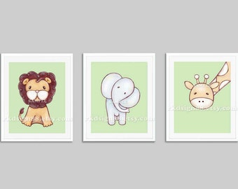Baby nursery wall art for nursery decor, giraffe print jungle nursery art for baby room, art for children decor, green, set, 3 prints