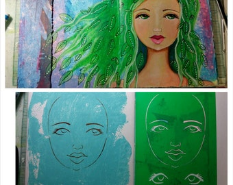 STENCIL Original face stencil Goddess Face - use in your mixed media work - reversible & reusable Art Stencil