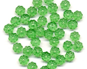 Vintage Flower Beads 6mm Translucent Green Rondelle Spacers 48 Pcs.
