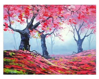 Pink trees Pink wall art Pink prints pink decor pink pictures