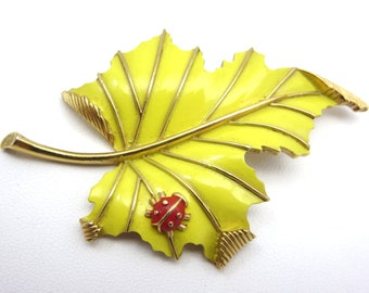 Trifari Leaf and Ladybug Brooch - Yellow Enamel 1960s Costume Jewelry