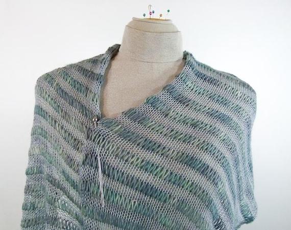 Knitting Patterns For Lightweight Shawls : Lightweight Knit Shawl Wrap or Scarf in Misty Blue Luxury