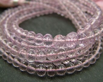 """Pink Amethyst Rondelles 3-5mm, AAA, Faceted - 8"""" Strand (CG537b)"""