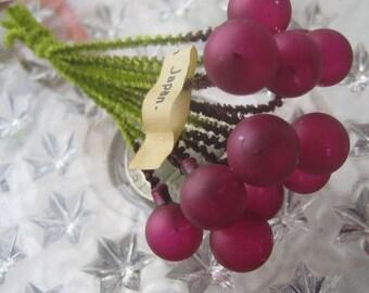 Vintage Millinery Glass Berry Stamen 1950s Japan Chenille Stems Burgundy Matte