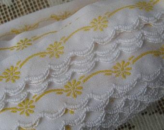 Czech Republic Woven Yellow Embroidered Cotton Trim 20mm 2 Yards  Folk Costume Trim