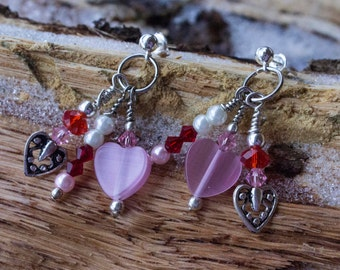 Valentine Red and Pink, Pearl and Swarovski Chrystal Chandelier Earrings