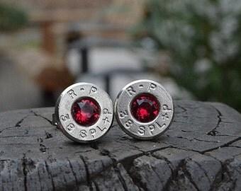 Bullet Earrings stud earrings or post earrings R-P Remington Peters .38 Special earrings silver earrings bullet jewelry Swarovski crystals