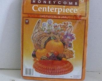 Thanksgiving Centerpiece - Honeycomb - Paper Ephemera - Cornucopia and Pumpkins