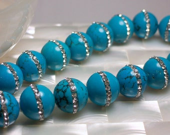 14pcs 15mm Robins Egg Blue Turquoise Beads Rhinestone enhanced Beads 1/2 strand Jewelry Beads Jewellery Supplies Focal Bead Fancy Crystal