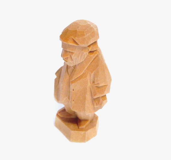 Miniature wood carving signed quebec folk art