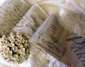 Lovely Paris  Inspired Trim - NOUVEAUTES - PARIS - French Script - Wide Tea Dyed Trim