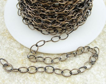 Antique Brass Chain - TierraCast 5mm x 6mm Fine Link Cable Chain - Loose Bronze Chain for Jewelry and Necklaces 20-0825-27