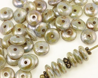 50 LUSTER OPAQUE GREEN 6mm Rondelle Beads - Czech Glass Beads - Earthy Mix of Greens Blues and Golds Autumn Fall Beads