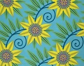 Jane Sassaman Clematus Citrus Blue Gregorys Garden Fabric 1 yard