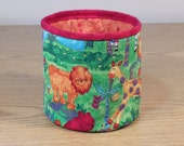 Quilted Fabric Bowl - Jungle Animals (UNbowlP)