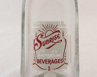 Vintage SUNRISE bottle - Melted pop bottle spoonrest or dish - upcycled bottle - Rochester NY - Buy 3 bogo sale