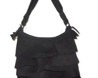 Black Faux Suede Purse, Handbag, Ultrasuede