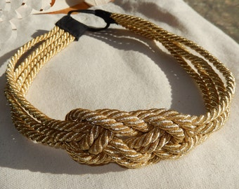 Couture Gold Braided Nautical Knot Headband- Single or Double Strandle-As Seen on Gossip Girl-CRBoggsdesigns