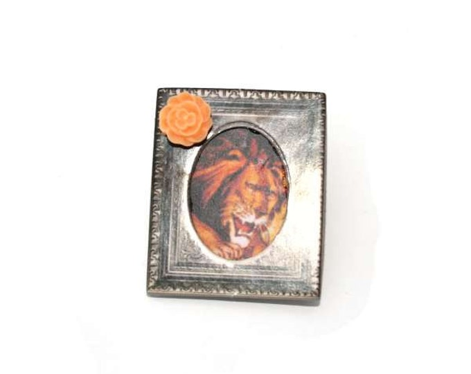 Circus Brooch, Wooden Lion Brooch, Circus Illustration, Animal Brooch, Altered Art, Mixed Media, Wood Jewelry