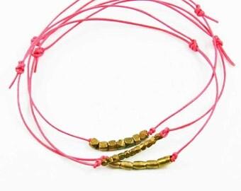 Leather Friendship Bracelets Bubblegum Pink Leather Beaded Bracelets Set Of Three