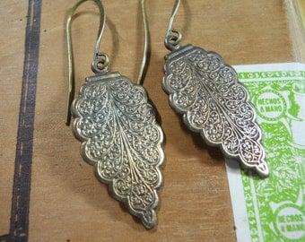 Scalloped Brass Dangle Earrings Embossed Metal Jewelry
