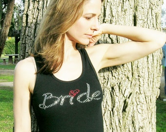 Bride T-shirt with Rhinestones -  Sparkly Bride Black Tank Womens Top