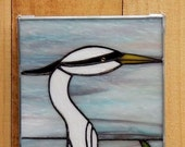 White Egret Stained Glass Panel