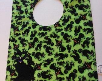 Black Cat Halloween Embroidered Baby Bib