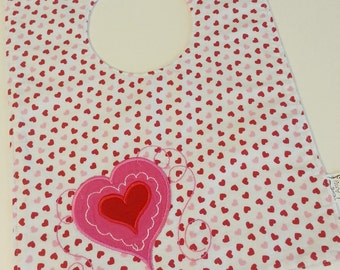 Valentine's Day Embroidered Baby Bib Pink Red White Heart Boy Girl Gift Fits 6 to 12 Months Machine Washable