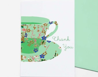 Teacup - set of 8 thank you cards