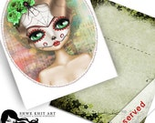 Instand Download - Halloween Sugar Skull -light and dark brown hair- postcard (RESERVED)