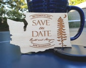 State or country shaped engraved wood save the date invitations