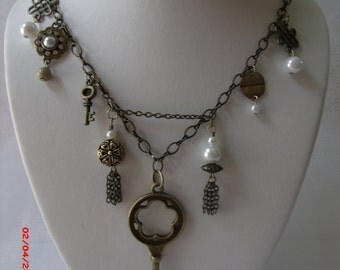 Victorian Romance Bronze and Pearl  Charm Necklace