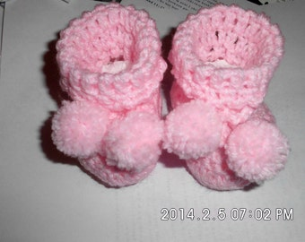 Baby booties can be made in sizes 0-3, 4-6 sizes